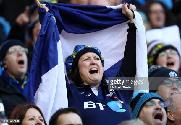 Scotland fan shows her support during the NatWest Six Nations match between Scotland and England at Murrayfield on February 24 2018 in Edinburgh...