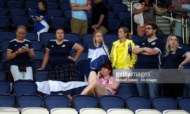 Scotland fans appear dejected in the stands during the FIFA Women's World Cup Group D match at the Parc des Princes Paris