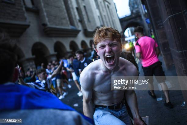 Scotland fans are seen celebrating after drawing with England on June 17, 2021 in Edinburgh, Scotland. England V Scotland is not only the oldest...