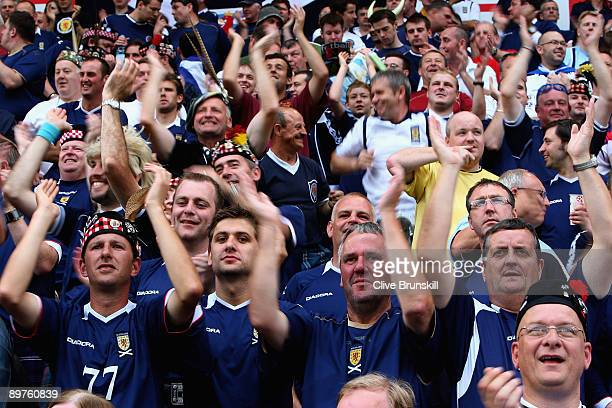 Scotland fans before the kickoff prior to the FIFA 2010 group nine World Cup Qualifying match between Scotland and Norway at the Ullevaal stadion on...