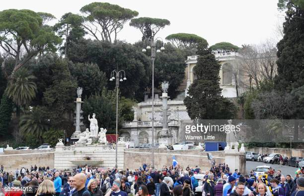 Scotland fans enjoy the atmosphere at Piazza del Popolo prior to the NatWest Six Nations match between Italy and Scotland at Stadio Olimpico on March...