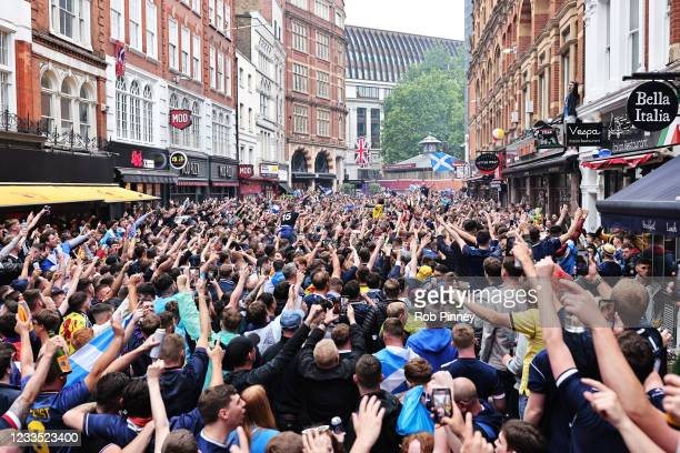 Scotland fans gather near Leicester Square in the West End ahead of the England verus Scotland Euro 2020 match on June 18, 2021 in London, England....