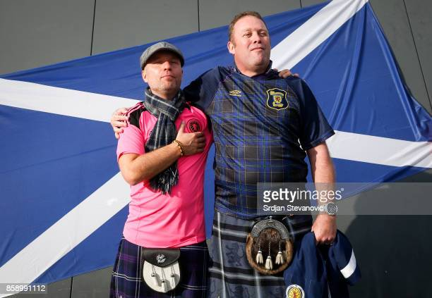 Scotland fans give their support prior to the FIFA 2018 World Cup Qualifier match between Slovenia and Scotland at stadium Stozice on October 08 2017...