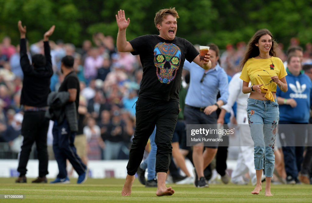 Scotland fans invade the field as Scotland beat England by 6 runs during the One Day International match between Scotland and England at The Grange on June 10, 2018 in Edinburgh, Scotland.
