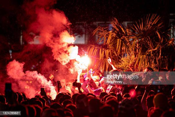 Scotland fans let off flares in Leicester Square after the England v Scotland game ended in a 0-0 draw on June 18, 2021 in London, England. England v...