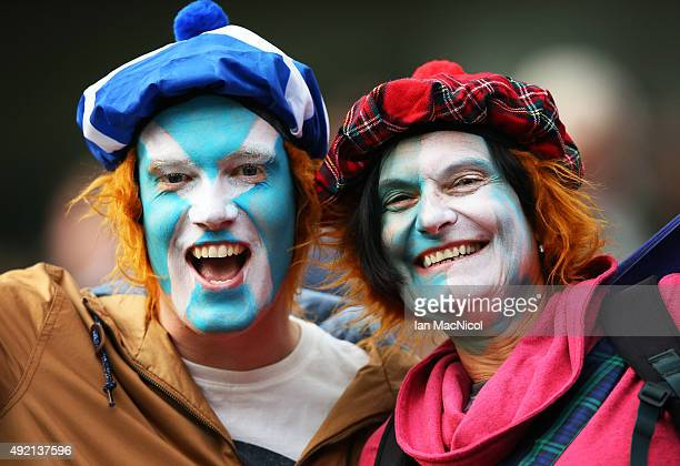Scotland fans look on during the 2015 Rugby World Cup Pool B match between Samoa and Scotland at St James Park on October 10 2015 in Newcastle England