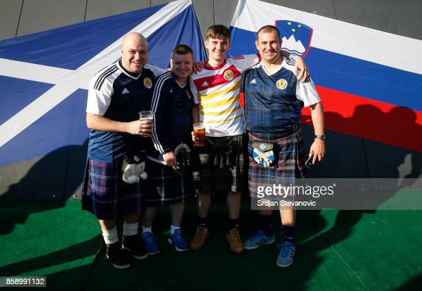 Scotland fans pose for a photo prior to the FIFA 2018 World Cup Qualifier match between Slovenia and Scotland at stadium Stozice on October 08 2017...