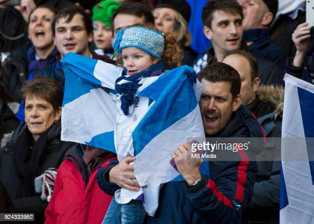 Scotland fans prior to the start of the 6 Nations clash between Scotland and England at BT Murrayfield on February 24 2018 in Edinburgh Scotland