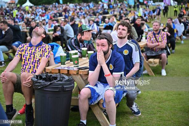 Scotland fans react as they support their team in the Euro 2020 game against Croatia on June 22, 2021 in Glasgow, Scotland. Scotland lost to Croatia,...