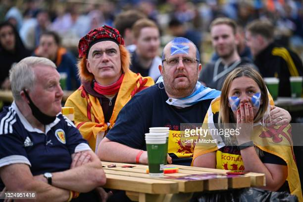 Scotland fans react as they support their team in the Euro 2020 game against Croatia on June 22, 2021 in Glasgow, Scotland. Scotland play Croatia...
