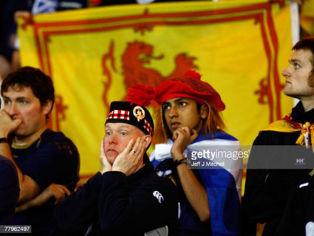 Scotland fans react at the end of UEFA Euro 2008 qualifiying match between Italy and Scotland at Hampden Park on November 17, 2007 in Glasgow,...