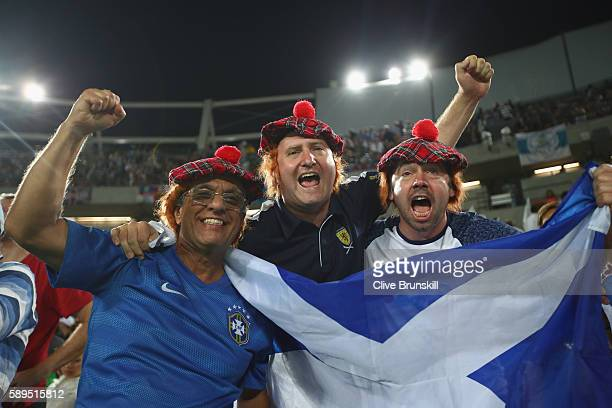 Scotland fans show their support during the men's singles gold medal match between Andy Murray of Great Britain and Juan Martin Del Potro of...