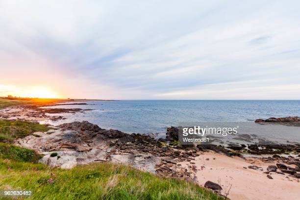 scotland, fife, kingsbarns, beach at sunset - fife scotland stock pictures, royalty-free photos & images