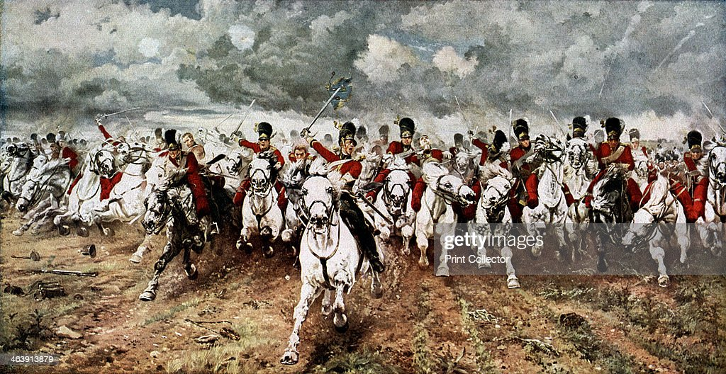 'Scotland for Ever'; the charge of the Scots Greys at Waterloo, 18 June 1815. : News Photo