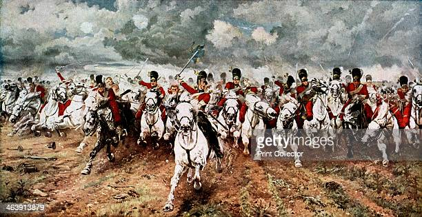 'Scotland for Ever'; the charge of the Scots Greys at Waterloo, 18 June 1815. The attack by the Royal Scots Greys cavalry regiment on the French 45th...
