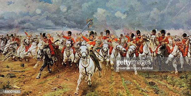 Scotland Forever The Royal Scots Greys Charge At Waterloo Painting By Lady Elizabeth Butler From The World's Greatest Paintings Published By Odhams...