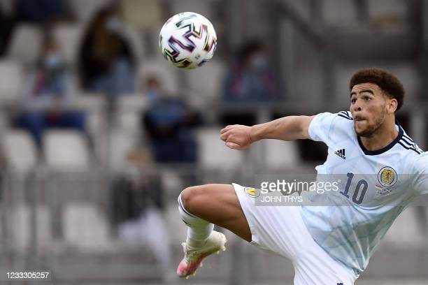 Scotland forward Che Adams looks at the ball during the friendly football match between Luxembourg and Scotland at the Josy Barthel Stadium in...