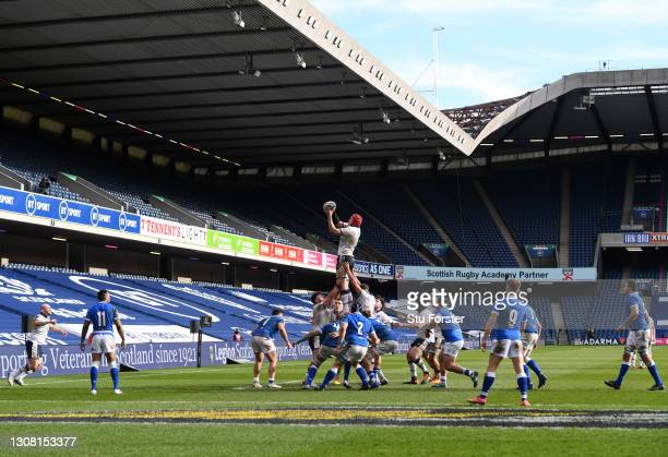 Scotland forward Grant Gilchrist wins a lineout ball during the Guinness Six Nations match between Scotland and Italy at Murrayfield on March 20,...