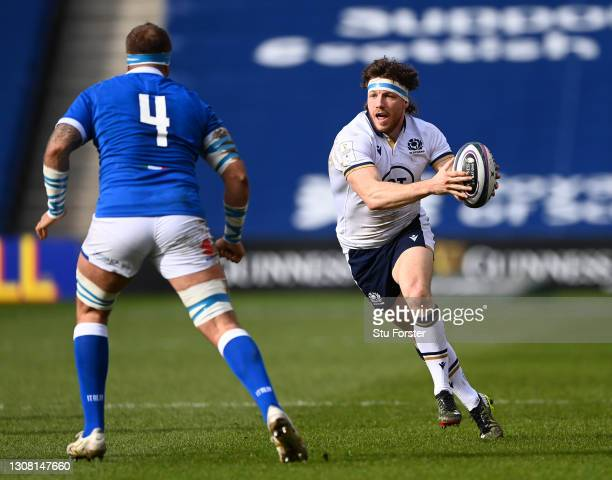 Scotland forward Hamish Watson in action during the Guinness Six Nations match between Scotland and Italy at Murrayfield on March 20, 2021 in...