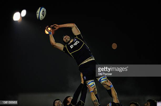 Scotland forward Richie Vernon in lineout action during the International match between Scotland A and England Saxons at Netherdale Stadium on...