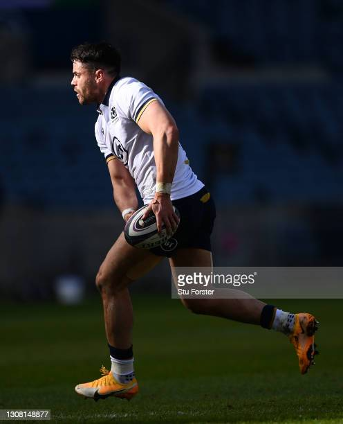 Scotland full back Sean Maitland in action during the Guinness Six Nations match between Scotland and Italy at Murrayfield on March 20, 2021 in...