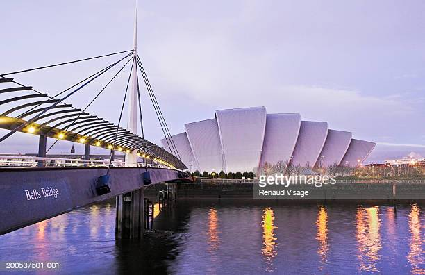 scotland, glasgow, scottish exhibition and conference centre, dusk - clyde auditorium stock pictures, royalty-free photos & images