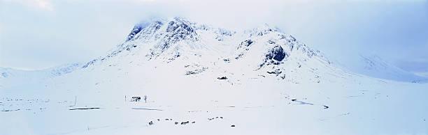 Scotland, Glencoe, House and sheep in winter snow