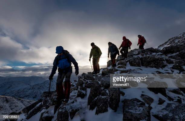 UK, Scotland, Glencoe, mountaineers at Buachaill Etive Beag