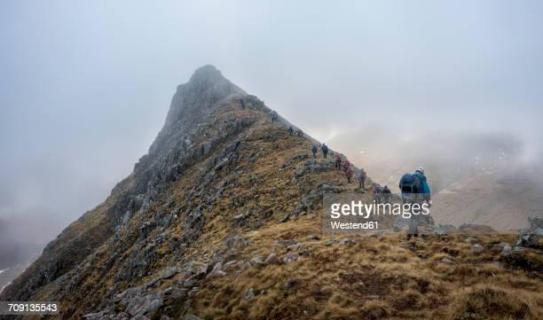 uk, scotland, glencoe, trekking at sron na lairig - ridge stock pictures, royalty-free photos & images