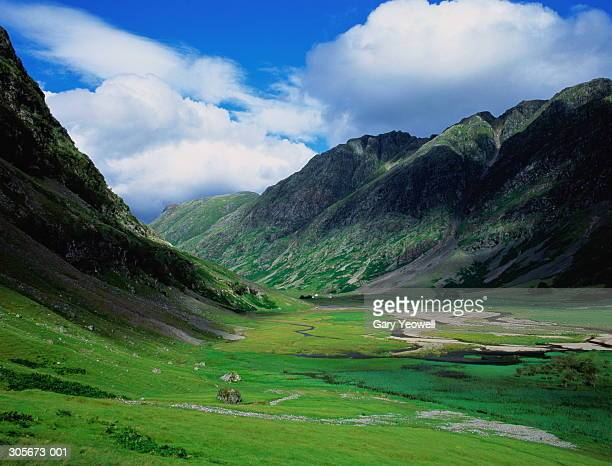 Scotland, Glencoe, view of green valley, mountains on either side