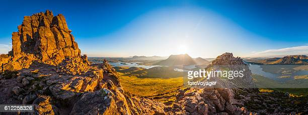 Scotland glorious dawn over Highland mountain peaks lochs glens panorama