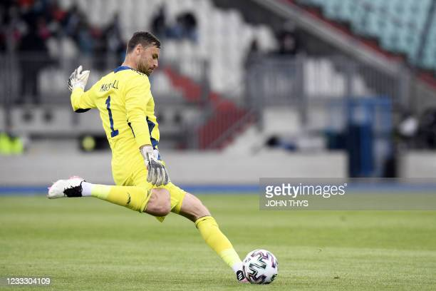 Scotland goalkeeper David Marshall clears the ball during the friendly football match between Luxembourg and Scotland at the Josy Barthel Stadium in...