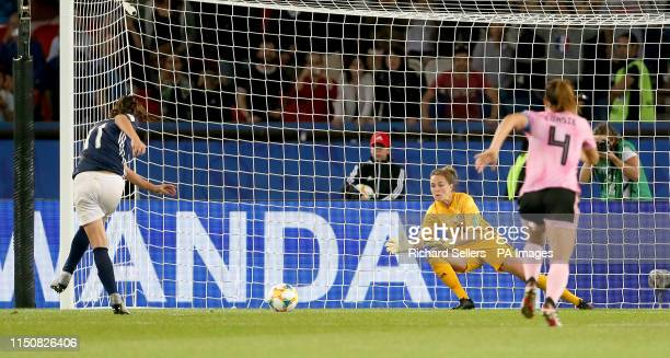 Scotland goalkeeper Lee Alexander saves a penalty from Argentina's Florencia Bonsegundo but is off her line so it is ordered by VAR to be retaken...