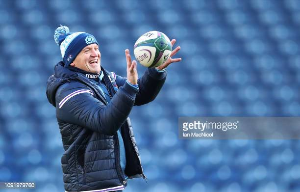 Scotland Head Coach Gregor Townsend is seen in action during the Captains Run prior to the Guiness Six Nations at Murrayfield on February 1, 2019 in...