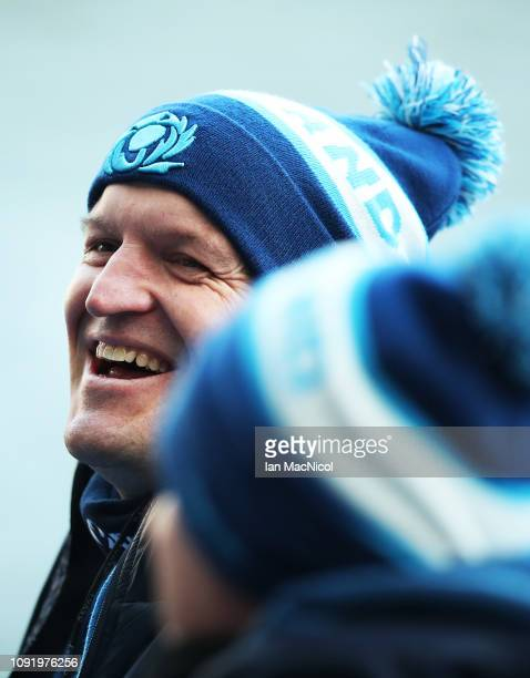 Scotland Head Coach Gregor Townsend looks on during the Captains Run prior to the Guiness Six Nations at Murrayfield on February 1, 2019 in...