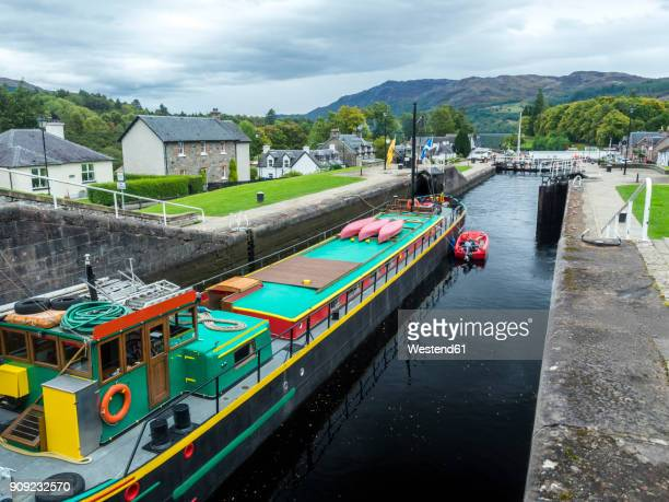 uk, scotland, highland, loch ness, caledonian canal, fort augustus sluice - loch ness stock photos and pictures