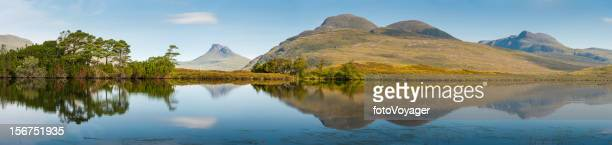 Scotland Highland mountain peaks reflecting in tranquil loch