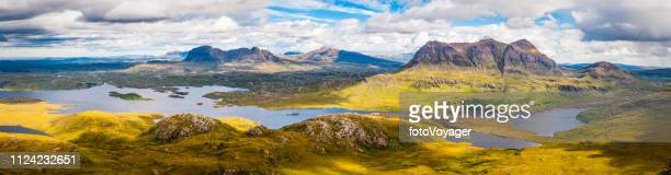 scotland highlands assynt mountain wilderness suilven cul mor panorama - wester ross stock pictures, royalty-free photos & images
