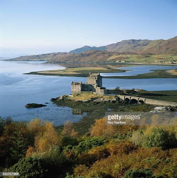 Scotland, Highlands, Eilean Donan Castle, elevated view