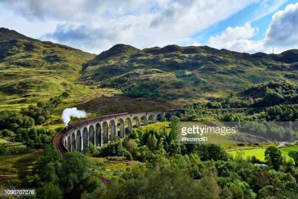 uk, scotland, highlands, glenfinnan viaduct with a steam train passing over it - scotland imagens e fotografias de stock