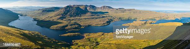 scotland highlands idyllic mountain loch landscape summer isles - wester ross stock pictures, royalty-free photos & images