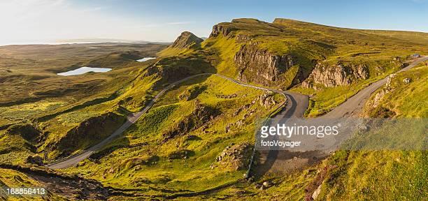 Scotland idyllic mountain pass Isle of Skye sunrise panorama