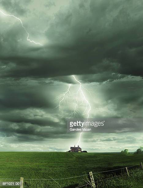 Scotland, Inverness, lightning striking isolated house