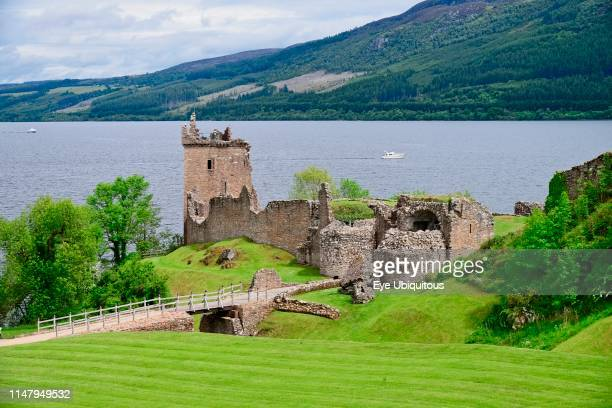 Scotland. Inverness-shire. Urquhart Castle with Loch Ness in the background.