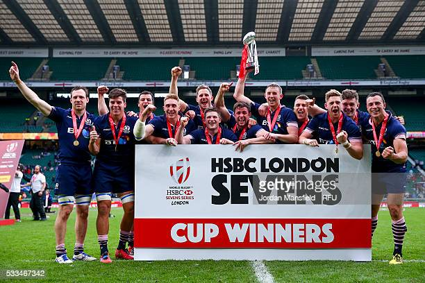 Scotland lift the trophy after winning the Cup Final match between Scotland and South Africa during day two of the HSBC London Sevens at Twickenham...