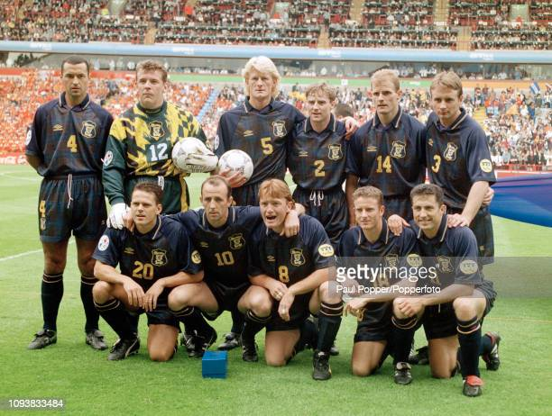 Scotland line up for a group photo before the UEFA Euro 1996 Group A match between the Netherlands and Scotland at Villa Park on June 10 1996 in...