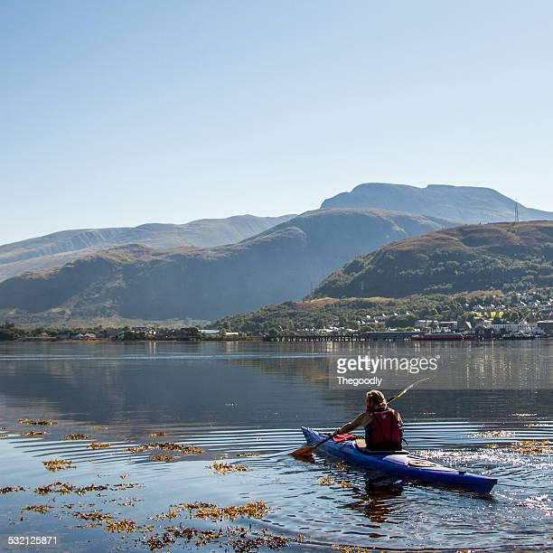 UK, Scotland, Man in canoe