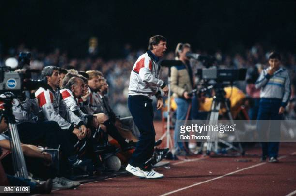 Scotland manager Alex Ferguson shouts from the touchline during the Australia v Scotland World Cup Qualifier in Melbourne, Australia on the 4th...