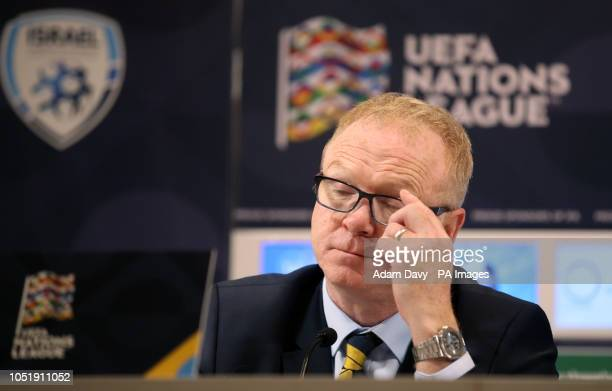 Scotland manager Alex McLeish in the post match press conference after the UEFA Nations League Group C1 match at the Sammy Ofer Stadium, Haifa.