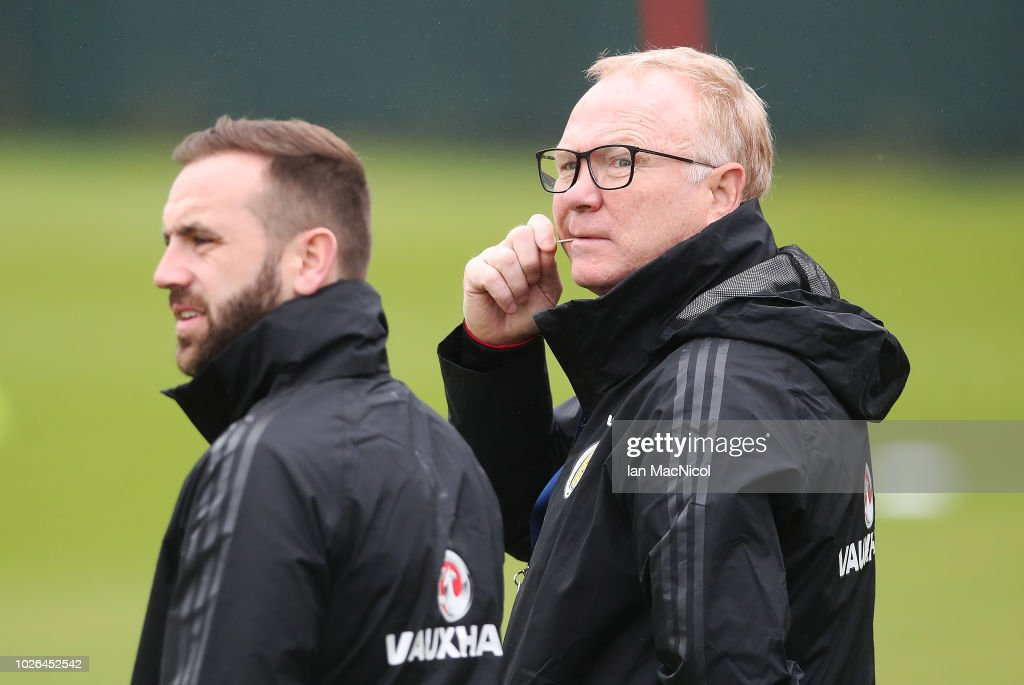 Scotland manager Alex McLeish is seen during a Scotland training session ahead of their International friendly match against Belgium at Orium Performance Centre on September 3, 2018 in Edinburgh, Scotland.